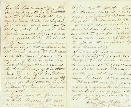 For sale: letter from man who wants to be               Governor of Alaska in 1867, which is still officially               Russian America.