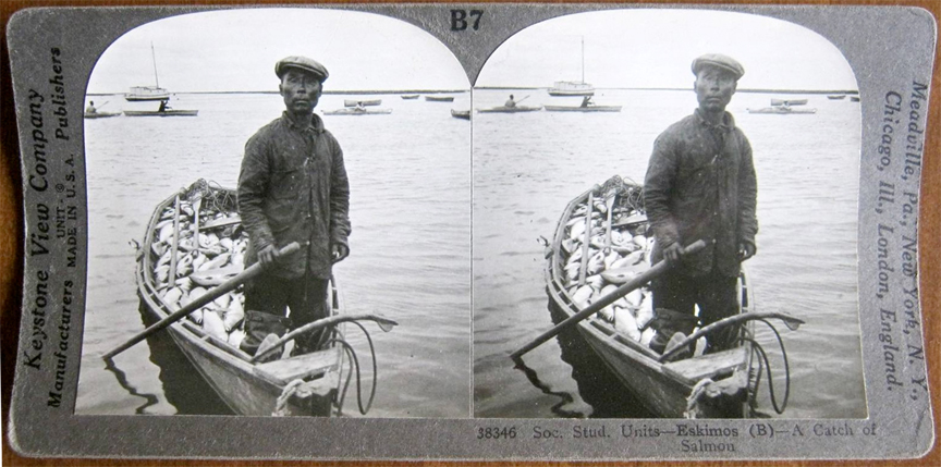 For sale: stereoview of a Yup'ik fisherman.