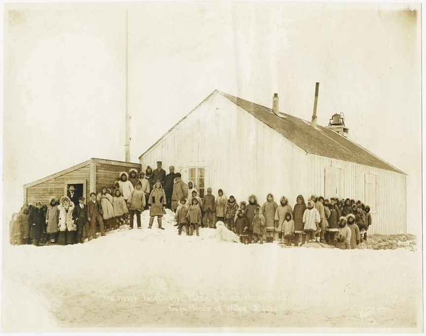 For sale: Original               photograph of the Cape Prince of Wales, Alaska, Public               School, by Frank Nowell.