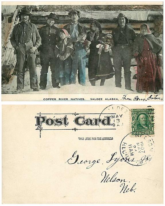 For sale: original 1907 P.S. Hunt               post card showing Copper River Natives in Valdez, Alaska.