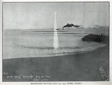 "Moonlight picture, July 28, 1904, Nome, Alaska. For               sale: original view book ""Souvenir of North Western               Alaska"" by O.D. Goetz."