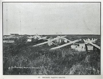 "St. Michael Native graves. For sale: original view               book ""Souvenir of North Western Alaska"" by O.D.               Goetz."