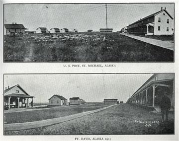 "Fort Davis, Alaska, 1903. For sale: original view               book ""Souvenir of North Western Alaska"" by O.D.               Goetz."