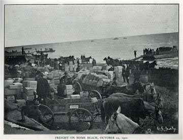 """Freight on Nome beach, October 22, 1900. For sale:               original view book """"Souvenir of North Western               Alaska"""" by O.D. Goetz."""