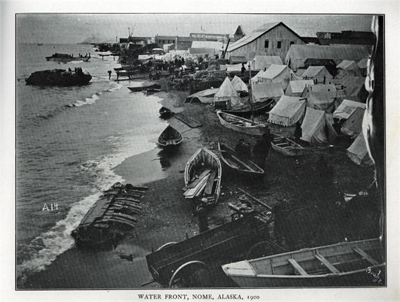 "Waterfront , Nome, Alaska, 1900. For sale: original               view book ""Souvenir of North Western Alaska"" by               O.D. Goetz."