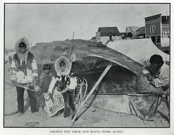 """Eskimos and their skin boats, Nome, Alaska. For sale:               original view book """"Souvenir of North Western               Alaska"""" by O.D. Goetz."""