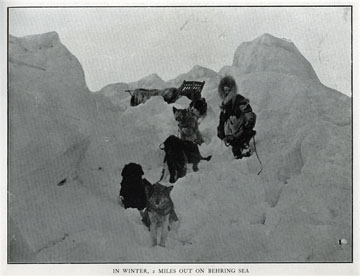 """In winter 2 miles out on Behring Sea [Bering Sea].               For sale: original view book """"Souvenir of North               Western Alaska"""" by O.D. Goetz."""