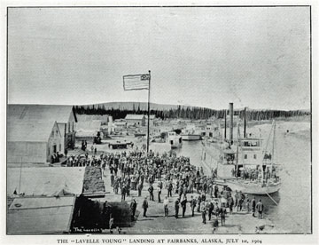 """The """"Lavelle Young"""" landing at Fairbanks, Alaska,               July 1st, 1904. For sale: original view book               """"Souvenir of North Western Alaska"""" by O.D.               Goetz."""