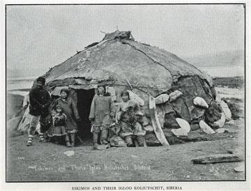 "Eskimos and their igloo, Koliutschit, Siberia. For               sale: original view book ""Souvenir of North Western               Alaska"" by O.D. Goetz."