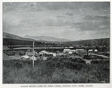 "Placer mining camp on Ophir Creek, Council City,               Nome, Alaska. For sale: original view book ""Souvenir               of North Western Alaska"" by O.D. Goetz."