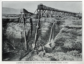 """Campbell hydraulic elevator for placer mining, Nome,               Alaska. For sale: original view book """"Souvenir of               North Western Alaska"""" by O.D. Goetz."""