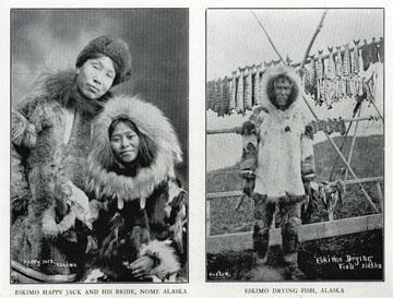 "Eskimo Happy Jack and his bride, Nome, Alaska. For               sale: original view book ""Souvenir of North Western               Alaska"" by O.D. Goetz."