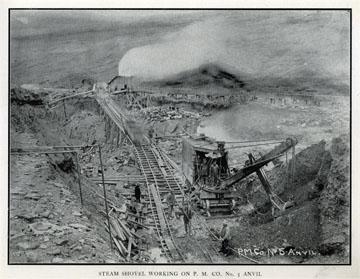 "Steam Shovel working on P. M. Company No. 5 Anvil.               For sale: original view book ""Souvenir of North               Western Alaska"" by O.D. Goetz."