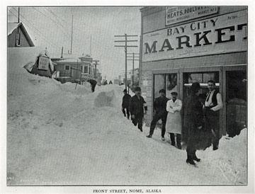 "Front Street, Nome, Alaska. For sale: original view               book ""Souvenir of North Western Alaska"" by O.D.               Goetz."