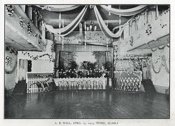 "A. B. Hall [arctic brotherhood], April 13, 1903,               Nome, Alaska. For sale: original view book ""Souvenir               of North Western Alaska"" by O.D. Goetz."