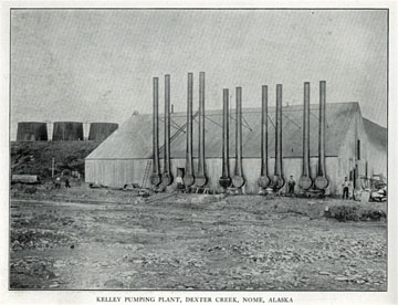 "Kelley pumping plant, Dexter Creek, Nome, Alaska. For               sale: original view book ""Souvenir of North Western               Alaska"" by O.D. Goetz."