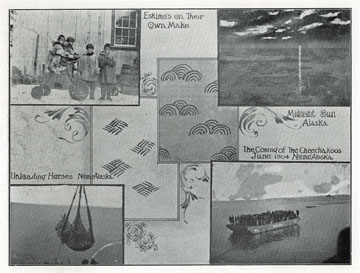"Unloading horses, Nome, Alaska. For sale: original               view book ""Souvenir of North Western Alaska"" by               O.D. Goetz."