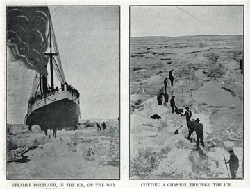 """Steamer Portland, in the ice, on the way to Nome,               Alaska. For sale: original view book """"Souvenir of               North Western Alaska"""" by O.D. Goetz."""