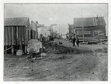 "Street of Solomon, Alaska. For sale: original view               book ""Souvenir of North Western Alaska"" by O.D.               Goetz."