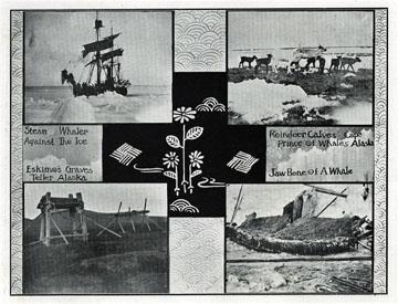 "Eskimo graves, Teller, Alaska. For sale: original               view book ""Souvenir of North Western Alaska"" by               O.D. Goetz."