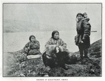 "Eskimos at Koliutschit, Siberia. For sale: original               view book ""Souvenir of North Western Alaska"" by               O.D. Goetz."