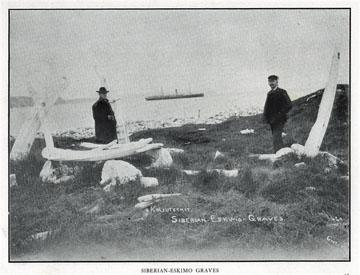 "Siberian Eskimo               graves. For sale: original view book ""Souvenir of               North Western Alaska"" by O.D. Goetz."
