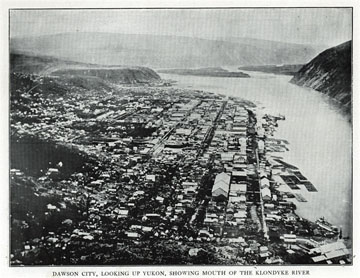 "Dawson City, looking up Yukon, showing mouth of the               Klondyke [Klondike] River. For sale: original view book               ""Souvenir of North Western Alaska"" by O.D.               Goetz."