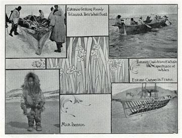 """Eskimo canoe [umiak] in frame. For sale: original               view book """"Souvenir of North Western Alaska"""" by               O.D. Goetz."""
