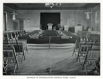 "Interior of Congregation church, Nome, Alaska. For               sale: original view book ""Souvenir of North Western               Alaska"" by O.D. Goetz."