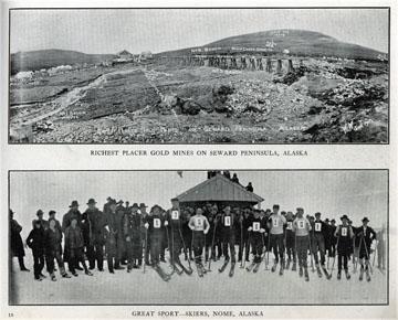 "Richest placer gold mines on Seward Peninsula. For               sale: original view book ""Souvenir of North Western               Alaska"" by O.D. Goetz."