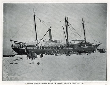 """Steamer Jeanie, first boat in Nome, Alaska, May 25,               1901. For sale: original view book """"Souvenir of North               Western Alaska"""" by O.D. Goetz."""