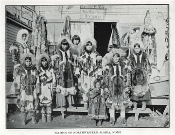 "Eskimos of Northwestern Alaska, Nome. For sale:               original view book ""Souvenir of North Western               Alaska"" by O.D. Goetz."
