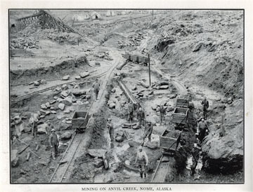 "Mining on Anvil Creek, Nome, Alaska. For sale:               original view book ""Souvenir of North Western               Alaska"" by O.D. Goetz."
