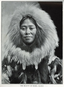 "The [Inupiat Eskimo] beauty of Nome, Alaska. For               sale: original view book ""Souvenir of North Western               Alaska"" by O.D. Goetz."
