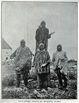 "Four Eskimo priests, St. Michaels, Alaska. For sale:               original view book ""Souvenir of North Western               Alaska"" by O.D. Goetz."