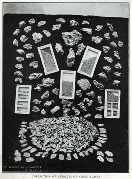 """Collection of nuggets of Nome, Alaska. For sale:               original view book """"Souvenir of North Western               Alaska"""" by O.D. Goetz."""