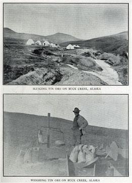 "Sluicing tin ore on Buck Creek, Alaska. For sale:               original view book ""Souvenir of North Western               Alaska"" by O.D. Goetz."