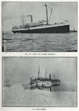 """S.S. St. Paul in Nome harbor. For sale: original view               book """"Souvenir of North Western Alaska"""" by O.D.               Goetz."""