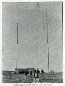 "Wireless telegraph system, St. Michaels, Alaska. For               sale: original view book ""Souvenir of North Western               Alaska"" by O.D. Goetz."