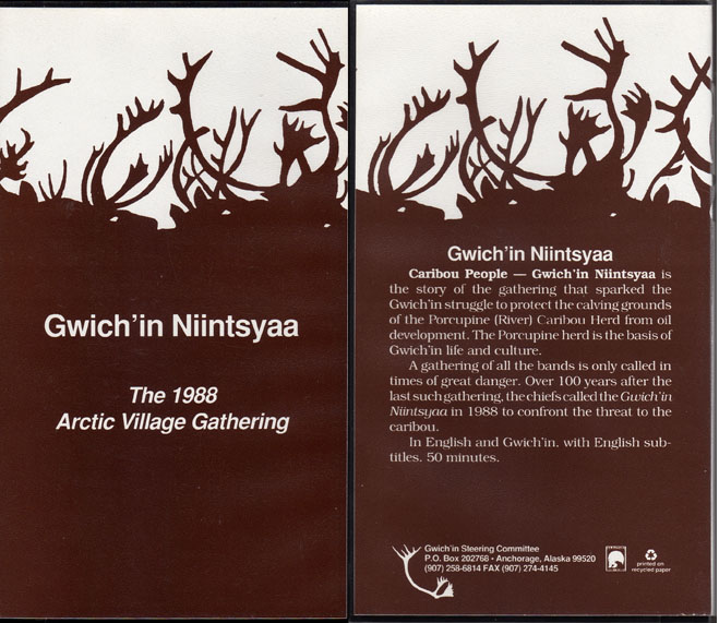 Gwich'in Niintsyaa 1988 gathering VHS video tape               for sale.