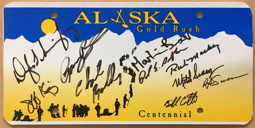 For sale: Alaska license plate signed by the top 10                 finishers of the year 2000 Iditarod.