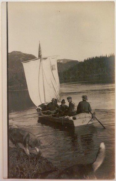 For sale: Early real photo postcard of prospectors on               the Iliamna River, Alaska.