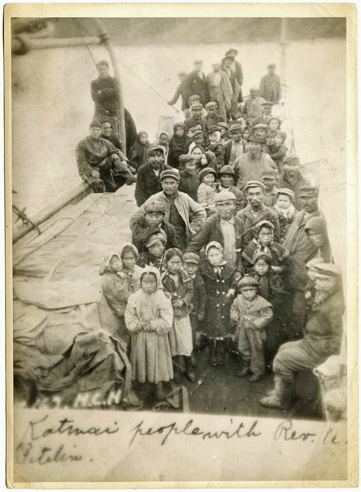 For sale: photograph               of Katmai people with Reverend Alexander Petelin onboard               the ship moving them to Perryville.
