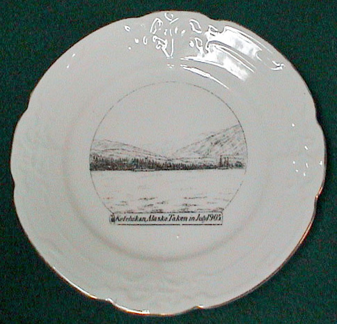 For sale: antique               Souvenir china 1905 view of Ketchikan, Alaska.
