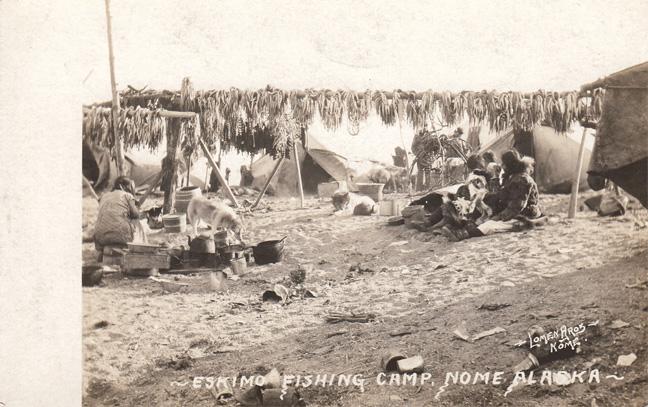 For sale: real photo postcard of               Eskimo Fishing Camp, Nome, Alaska.