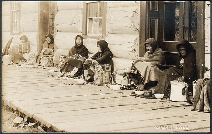 For sale: Old real photo postcard by Elbridge                 Merrill of Sitka Alaska Tlingit berry sellers.