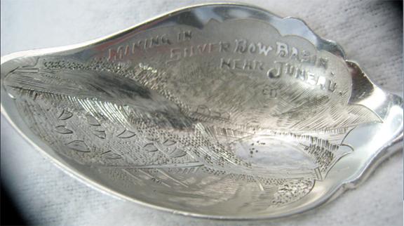 For sale: rare vintage silver bow basin sterling               souvenir spoon, Juneau, Alaska.