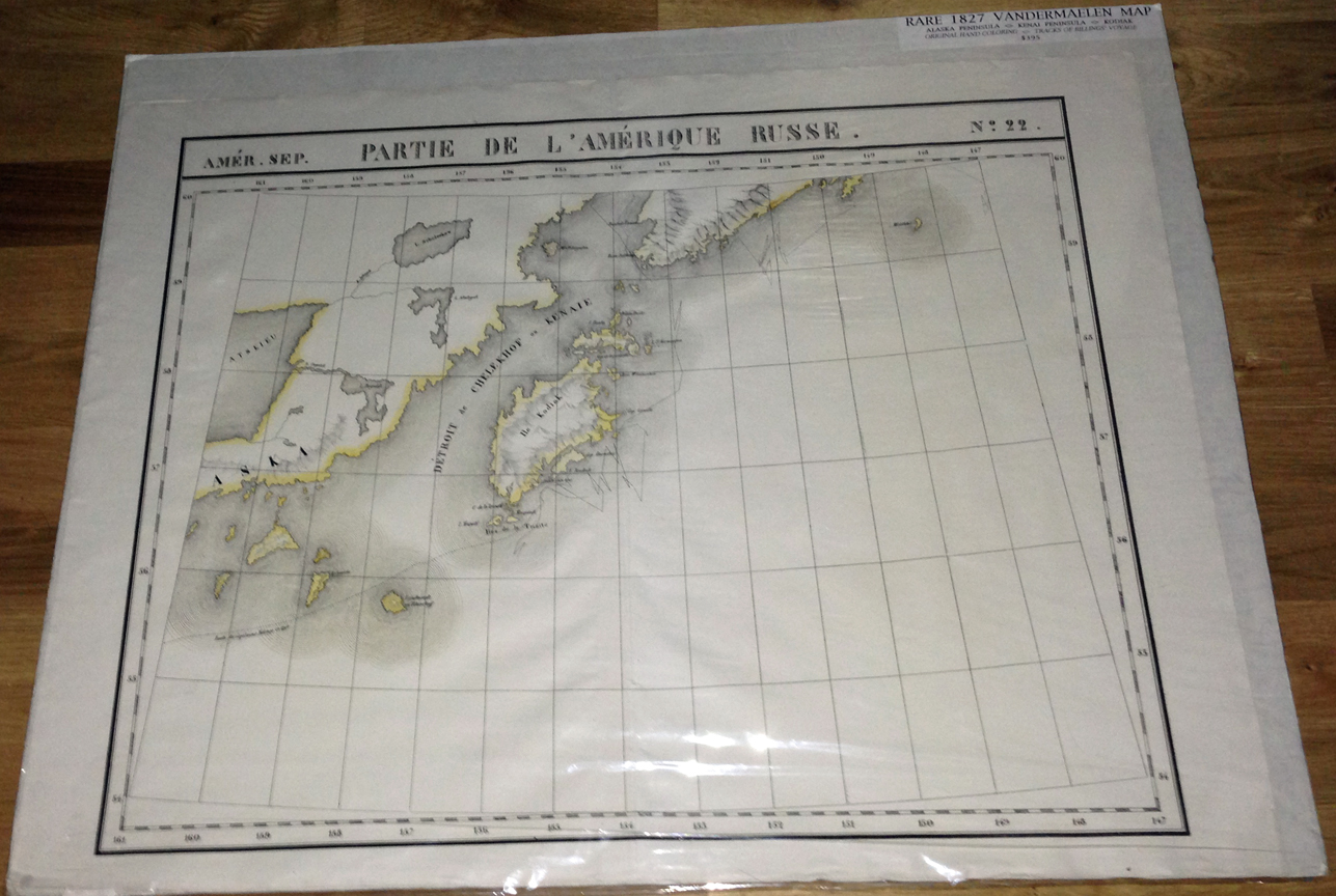For sale: original               1825 map of Kodiak Island, showing the tracks of the               Billings voyage, by Philippe Vandermaelen.