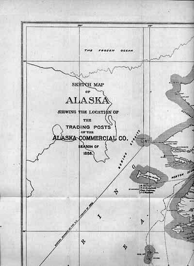 For sale: 1888               Alaska Commercial Company map, trading posts.