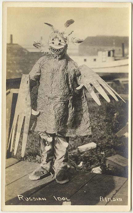 For               sale: Real photo postcard of a Yup'ik Eskimo shaman               wearing a mask.